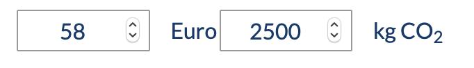 Atmosfair Berechnung für 2500kg Co2